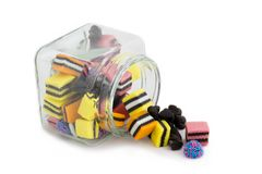 Licorice Allsorts in Jar - top side Stock Images