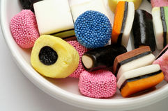 Licorice candies in bowl Royalty Free Stock Photos