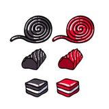 Licorice candies set vector illustration. Royalty Free Stock Photos