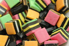 Licorice candy close up. Multiple colored licorice candy close up Royalty Free Stock Photo