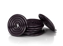 Licorice candy wheels. 3D Illustration. 3D illustration Royalty Free Stock Photo