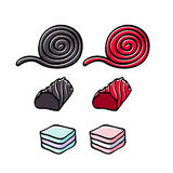 Licorice and marshmallow candies set vector illustration. Stock Image
