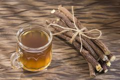 The root of licorice possesses many medicinal properties and health benefits - Glycyrrhiza glabra stock photos