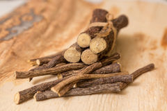 Licorice root sticks Stock Photos