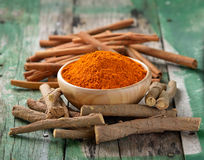 Licorice roots Cinnamon sticks and turmeric Stock Images