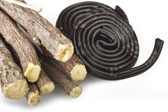 Licorice roots and licorice black Royalty Free Stock Image