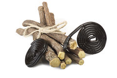 Licorice roots and licorice black Stock Image