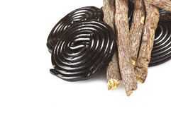 Licorice roots and licorice black Stock Photo