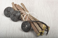 Licorice roots and licorice black Royalty Free Stock Images