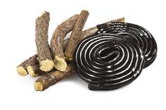 Licorice roots and licorice black Stock Photo