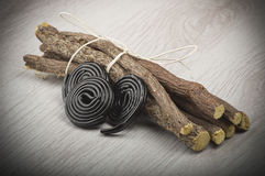 Licorice roots and licorice black Royalty Free Stock Photos