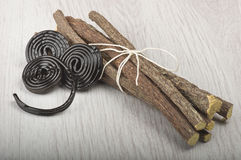 Licorice roots and licorice black Stock Images