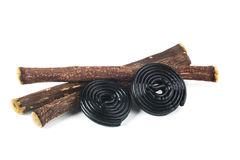 Licorice roots and licorice black Royalty Free Stock Photography