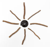 Licorice roots and wheel Stock Photography