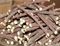 Licorice sticks for sale at the market Royalty Free Stock Image