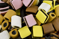 Licorice sweets. Closeup of licorice allsorts sweets Stock Photo