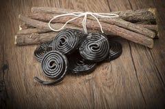 Licorice wheels candies Stock Photography