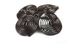 Licorice wheels candies Stock Photo