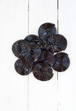 Licorice wheels Stock Photo