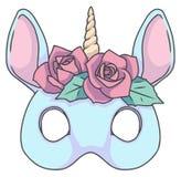 Licorne élégante bleu-clair de style de bande dessinée avec le bandeau rose rose de fleur illustration libre de droits