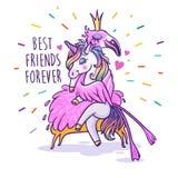 Licorne avec le flamant Meilleurs amis pour toujours Voiture de salutation de vecteur Photos stock