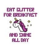 Licorne d'art de pixel avec des étoiles et la citation Mangez le scintillement pour des breakfas illustration stock