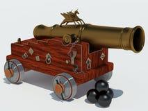 Licorne de canon avec le chariot Images stock