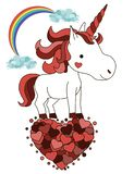 Licorne de sourire mignonne avec des coeurs Carte de voeux de Saint Valentin de St Créature de Kawaii photos stock