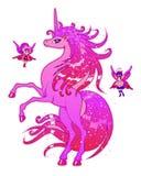 Licorne et fées roses Photographie stock libre de droits