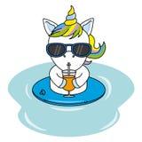 Licorne fraîche avec des lunettes de soleil et boire d'un jus illustration libre de droits