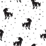 Licorne magique et étoiles de modèle sans couture sur le fond blanc, illustration de vecteur illustration stock