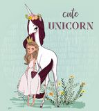 Licorne mignonne avec la princesse illustration stock