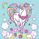Licorne mignonne d'arc-en-ciel Vecteur illustration stock