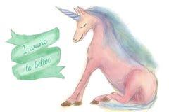 Licorne mignonne d'isolement Illustration de licornes de crèche Style tiré par la main Aquarelle de Digital Image libre de droits