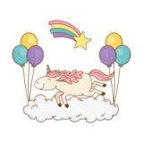 Licorne mignonne de conte de fées avec des ballons hélium et arc-en-ciel illustration de vecteur