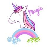 Licorne mignonne magique Photo libre de droits