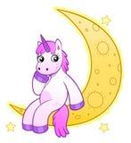 Licorne sur la lune illustration stock