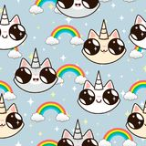 Licornes de chats et un arc-en-ciel chats de licorne sur un fond bleu Photos libres de droits