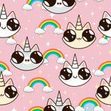 Licornes de chats et un arc-en-ciel chats de licorne sur un fond rose Image stock