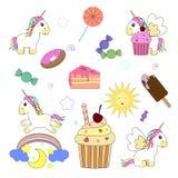 Licornes et bonbons mignons Illustration de vecteur Images stock