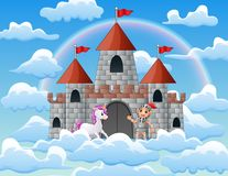 Licornes et chevaliers dans le palais sur les nuages illustration de vecteur