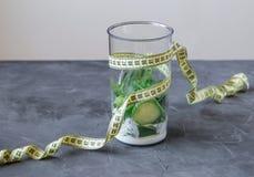 Licuadora por completo de verduras y yogur y metro concepto 90 60 90 Foto de archivo