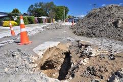 Licuefacción de la avenida de la glorieta, terremoto de Christchurch Fotografía de archivo libre de regalías