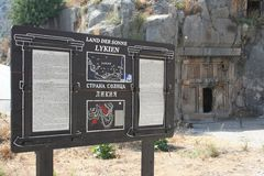 Information Stand in Myra, Demre. Myra (Ancient Greek: Μύρα [plural]) was an ancient Greek town in Lycia where the small town of Kale (Demre&# Royalty Free Stock Photography