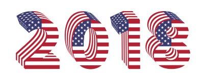 2018 liczb 3d flaga amerykańskiej nowego roku Obrazy Stock