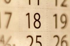 18 liczb na kalendarzowym prześcieradle zdjęcie stock