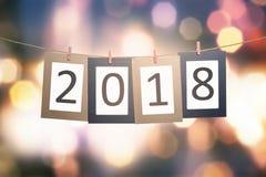 2018 liczb na paperboard dla nowego roku obwieszenia na arkanie Obrazy Stock