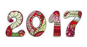 2017 liczb Zentangle ilustracja wektor