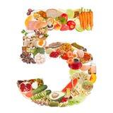 Liczba 5 zrobił jedzenie Obrazy Stock