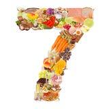 Liczba 7 zrobił jedzenie Zdjęcia Stock